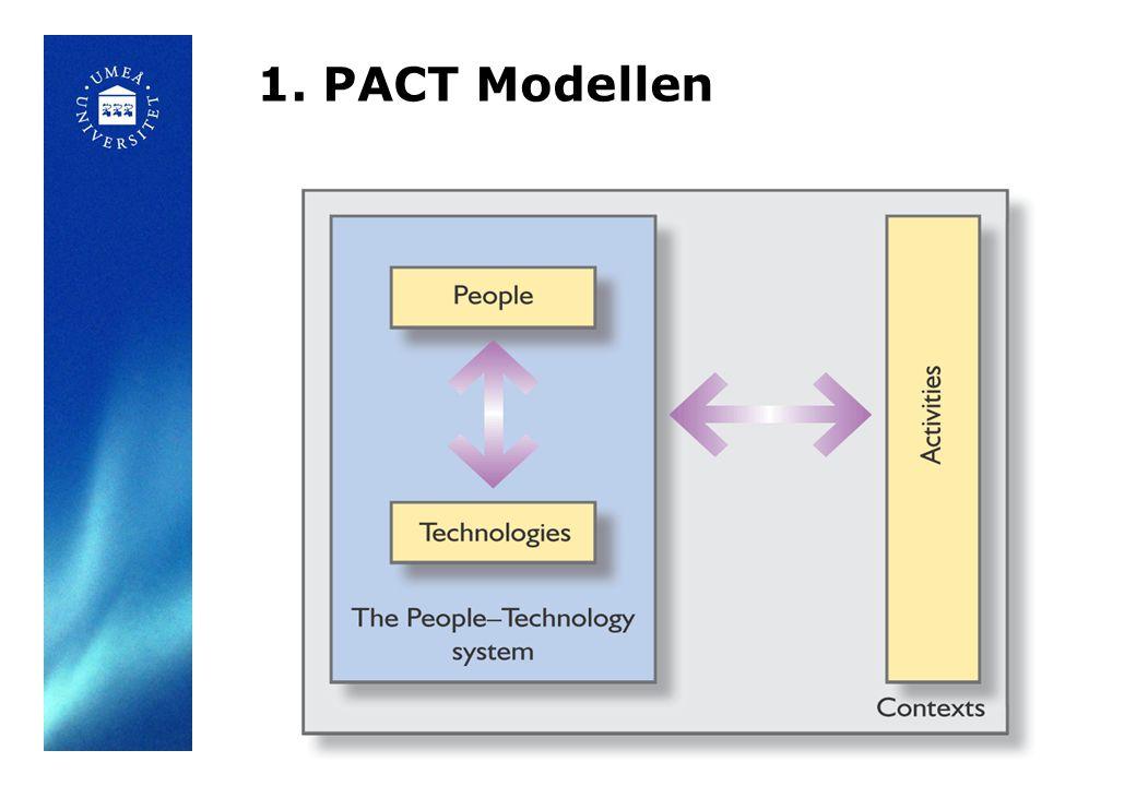 Förståelse för människocentrerad design - fysiska, psykologiska, intentionella skillnader - Kognitiv interaktionsdesign (kogvetprog) - accessability – tillgänglighet, design for all - acceptans – lämplighet för sammanhang - Usability (användbarhet) =>Experience design (Upplevelser) Förståelse för aktiviteterna som ska använda systemet Förståelse för de sammanhang där aktiviteterna äger rum Förståelse för vilka tekniklösningar som är möjliga