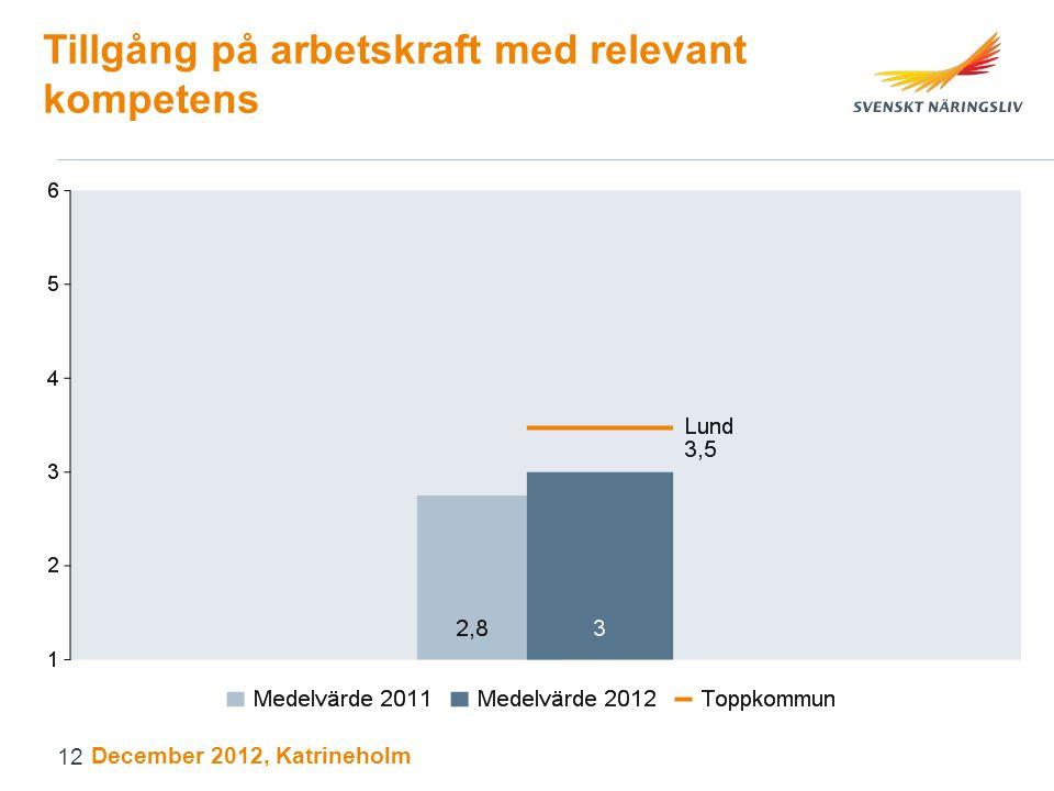 Tillgång på arbetskraft med relevant kompetens December 2012, Katrineholm 12