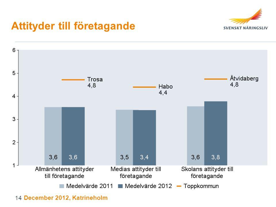 Attityder till företagande December 2012, Katrineholm 14