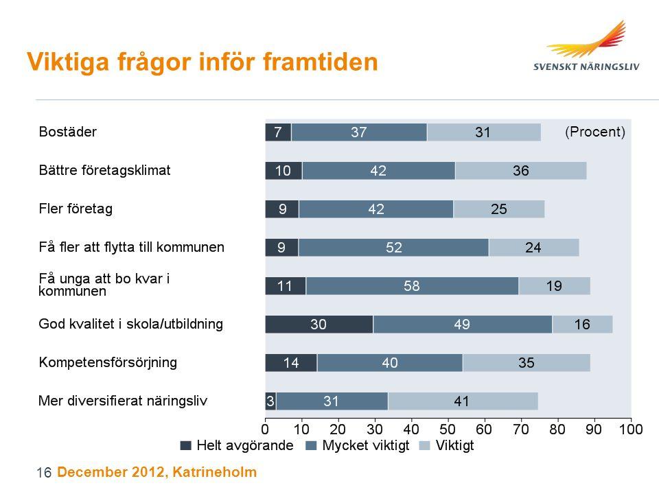Viktiga frågor inför framtiden (Procent) December 2012, Katrineholm 16