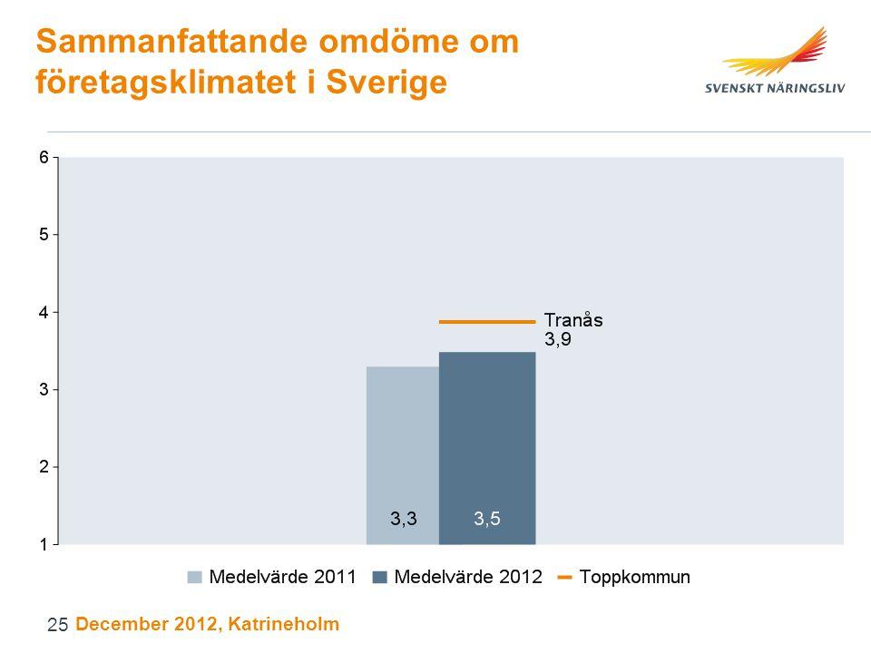 Sammanfattande omdöme om företagsklimatet i Sverige December 2012, Katrineholm 25