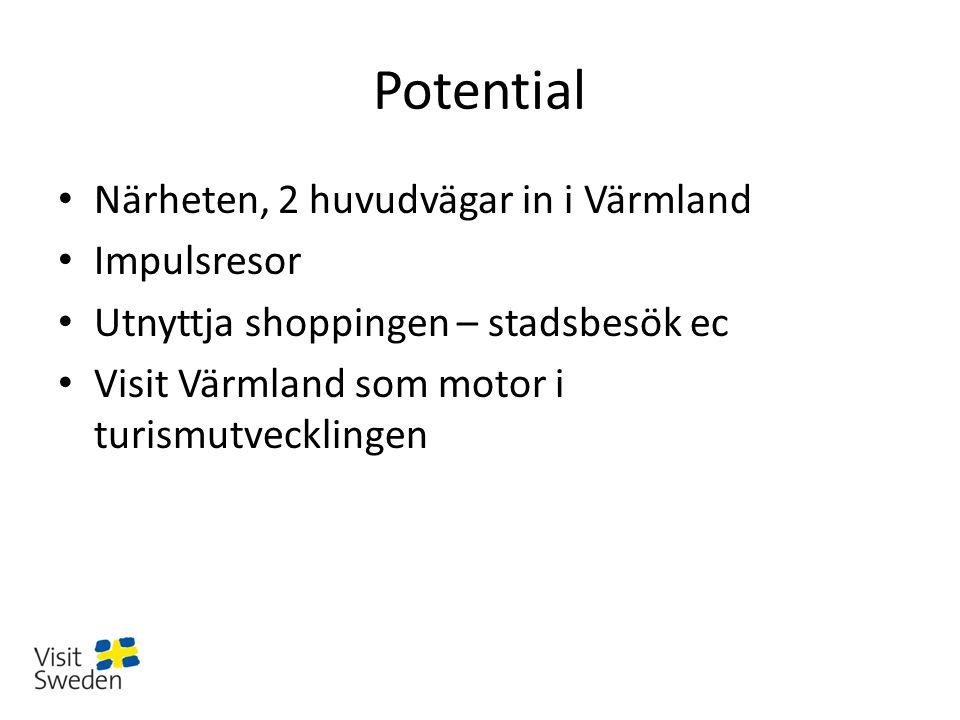 Potential Närheten, 2 huvudvägar in i Värmland Impulsresor Utnyttja shoppingen – stadsbesök ec Visit Värmland som motor i turismutvecklingen