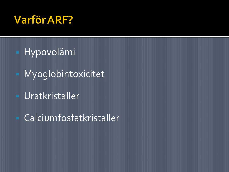  Hypovolämi  Myoglobintoxicitet  Uratkristaller  Calciumfosfatkristaller