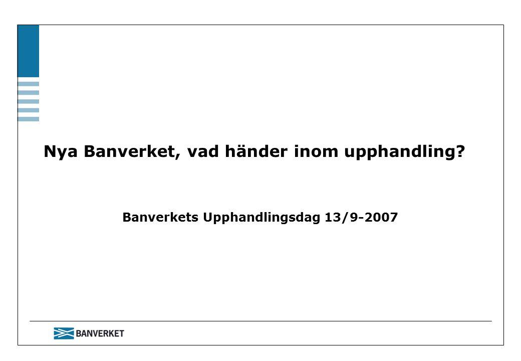 Nya Banverket, vad händer inom upphandling Banverkets Upphandlingsdag 13/9-2007