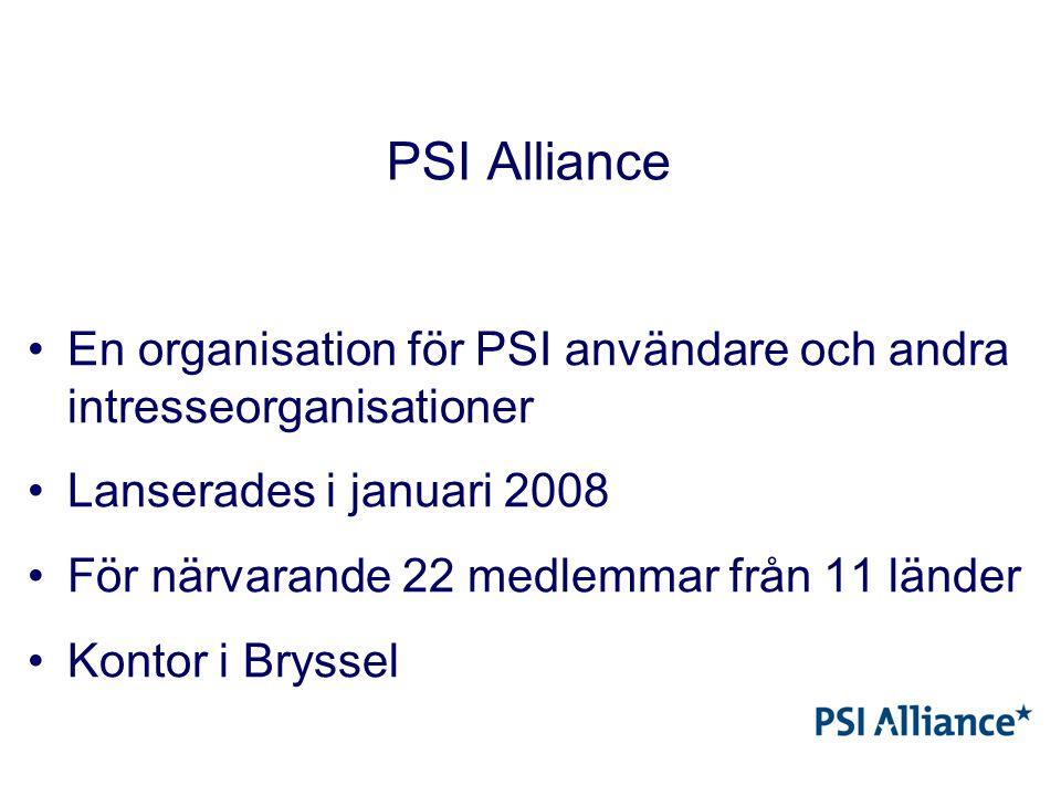 PSI Alliance En organisation för PSI användare och andra intresseorganisationer Lanserades i januari 2008 För närvarande 22 medlemmar från 11 länder Kontor i Bryssel