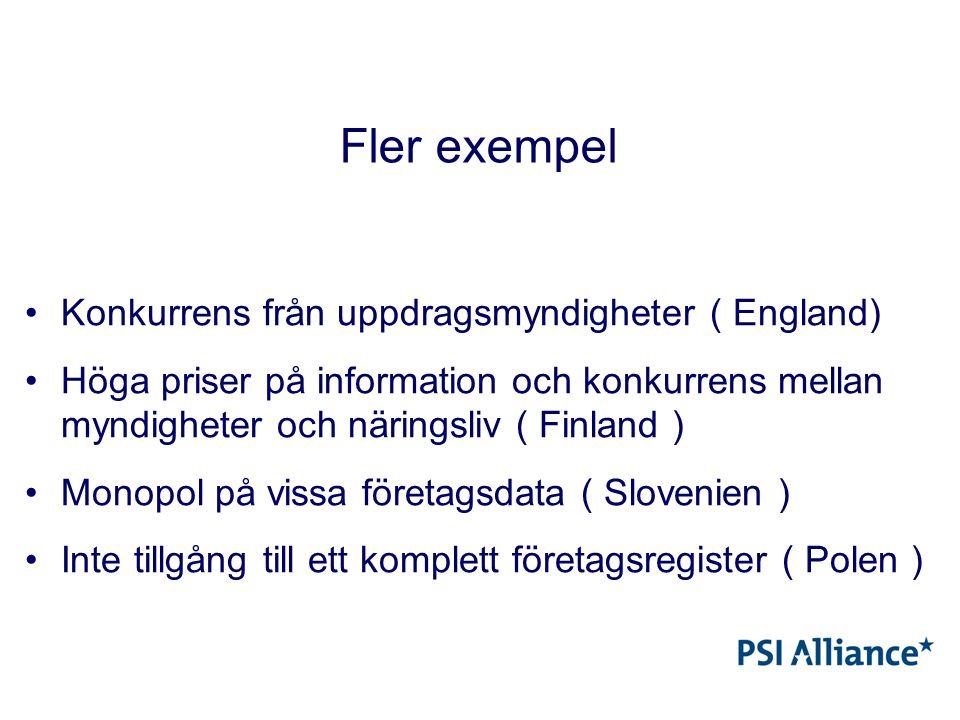 Fler exempel Konkurrens från uppdragsmyndigheter ( England) Höga priser på information och konkurrens mellan myndigheter och näringsliv ( Finland ) Monopol på vissa företagsdata ( Slovenien ) Inte tillgång till ett komplett företagsregister ( Polen )