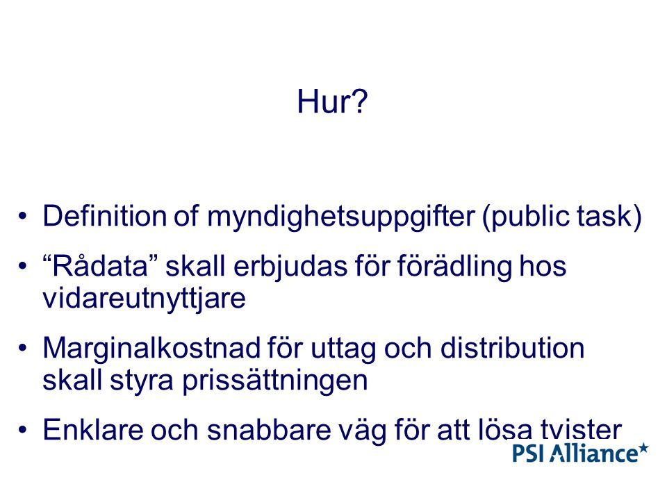 """Hur? Definition of myndighetsuppgifter (public task) """"Rådata"""" skall erbjudas för förädling hos vidareutnyttjare Marginalkostnad för uttag och distribu"""