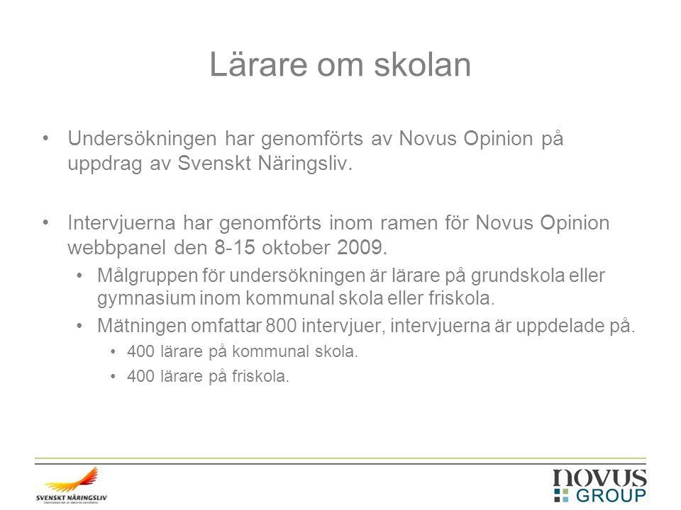 Lärare om skolan Undersökningen har genomförts av Novus Opinion på uppdrag av Svenskt Näringsliv. Intervjuerna har genomförts inom ramen för Novus Opi
