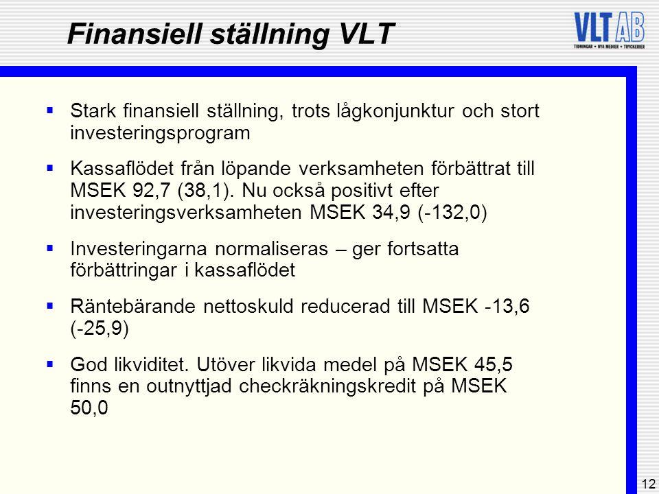 12 Finansiell ställning VLT  Stark finansiell ställning, trots lågkonjunktur och stort investeringsprogram  Kassaflödet från löpande verksamheten fö
