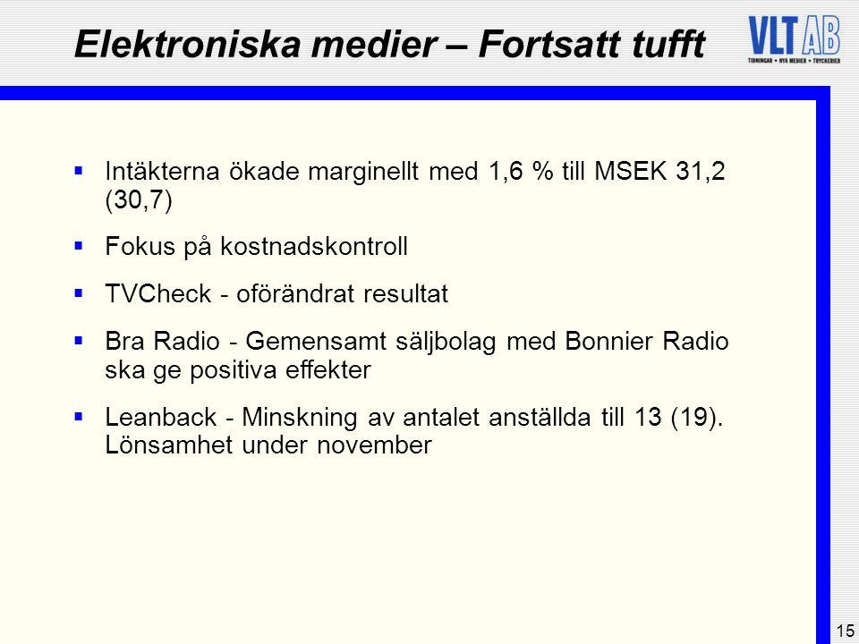 15 Elektroniska medier – Fortsatt tufft  Intäkterna ökade marginellt med 1,6 % till MSEK 31,2 (30,7)  Fokus på kostnadskontroll  TVCheck - oförändr