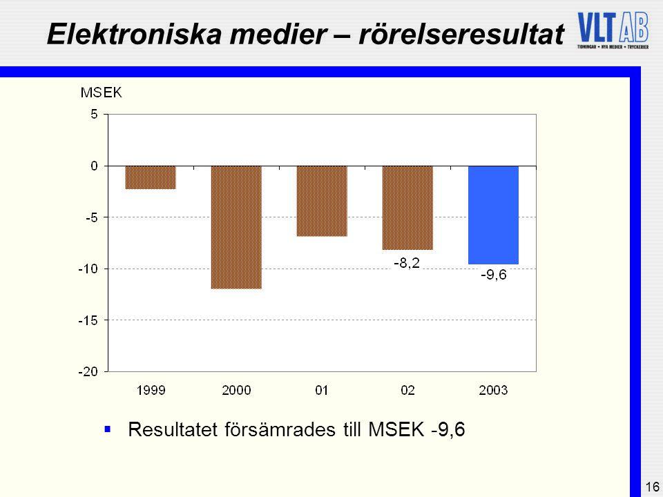 16 Elektroniska medier – rörelseresultat  Resultatet försämrades till MSEK -9,6