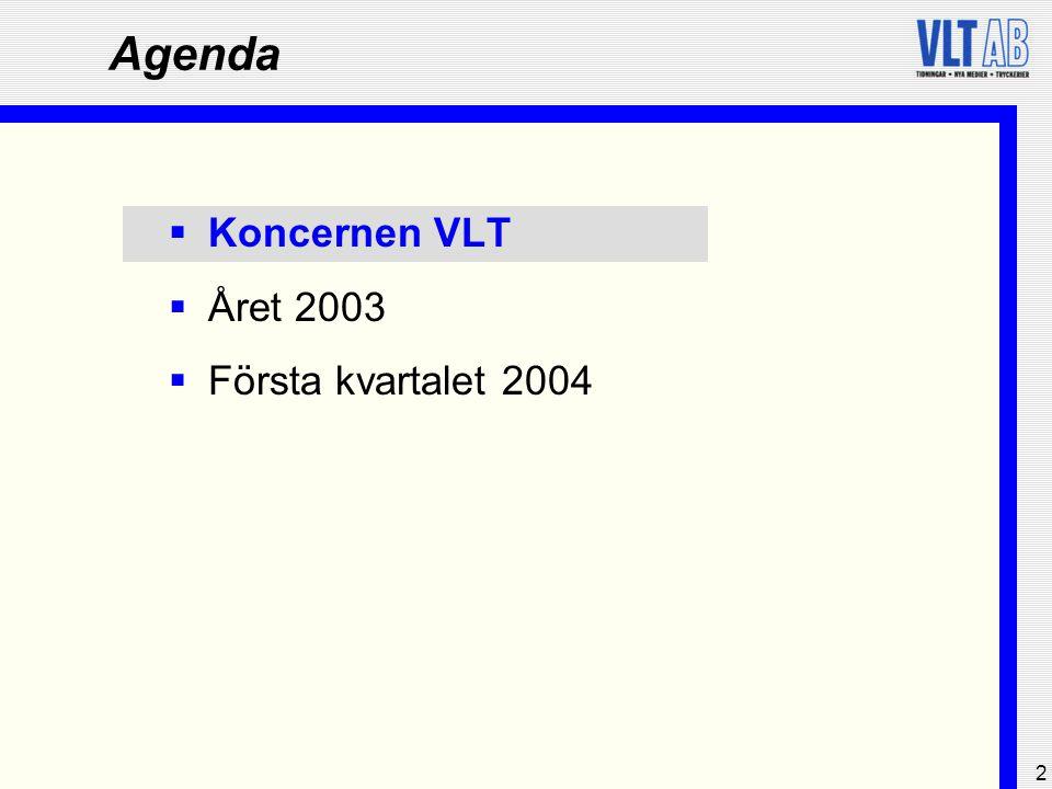 2 Agenda  Koncernen VLT  Året 2003  Första kvartalet 2004