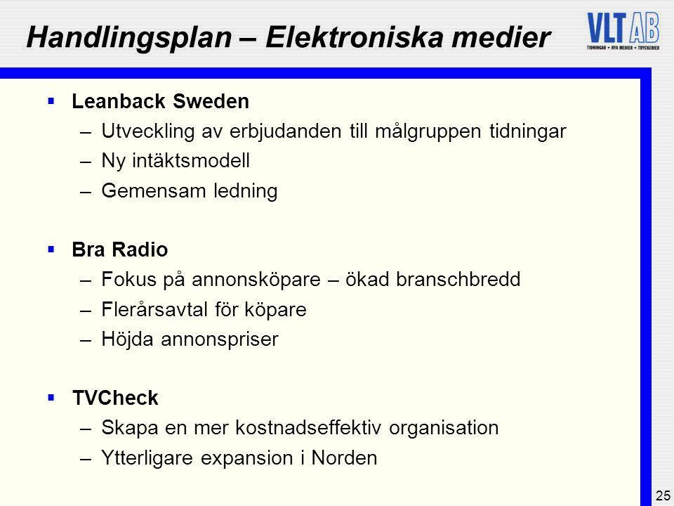 25 Handlingsplan – Elektroniska medier  Leanback Sweden –Utveckling av erbjudanden till målgruppen tidningar –Ny intäktsmodell –Gemensam ledning  Br