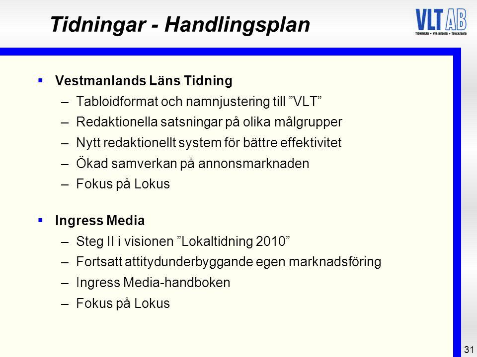 """31 Tidningar - Handlingsplan  Vestmanlands Läns Tidning –Tabloidformat och namnjustering till """"VLT"""" –Redaktionella satsningar på olika målgrupper –Ny"""
