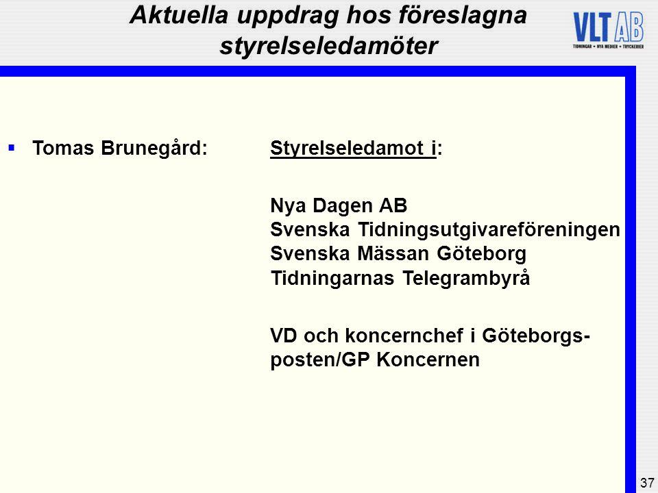 37 Aktuella uppdrag hos föreslagna styrelseledamöter  Tomas Brunegård:Styrelseledamot i: Nya Dagen AB Svenska Tidningsutgivareföreningen Svenska Mäss