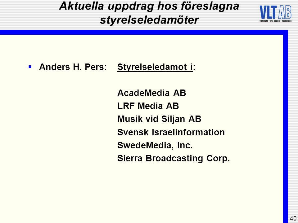 40 Aktuella uppdrag hos föreslagna styrelseledamöter  Anders H. Pers:Styrelseledamot i: AcadeMedia AB LRF Media AB Musik vid Siljan AB Svensk Israeli