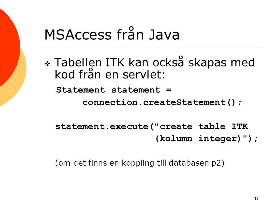10 MSAccess från Java  Tabellen ITK kan också skapas med kod från en servlet: Statement statement = connection.createStatement(); statement.execute(