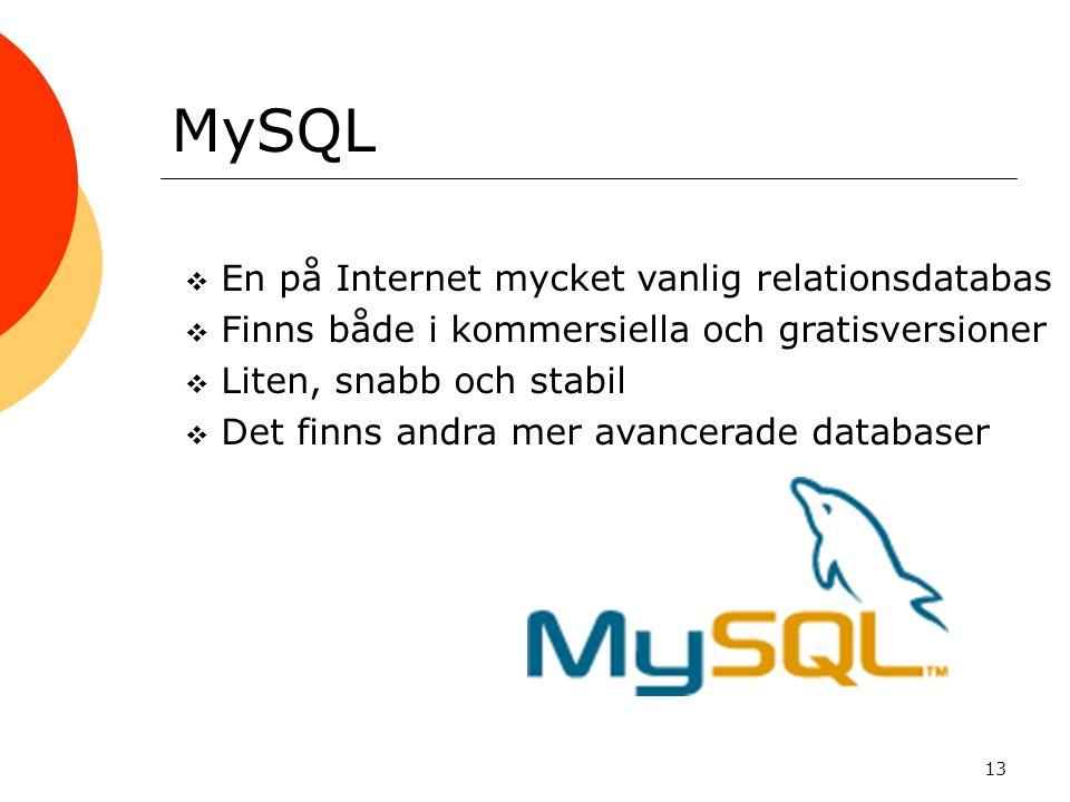 13 MySQL  En på Internet mycket vanlig relationsdatabas  Finns både i kommersiella och gratisversioner  Liten, snabb och stabil  Det finns andra m