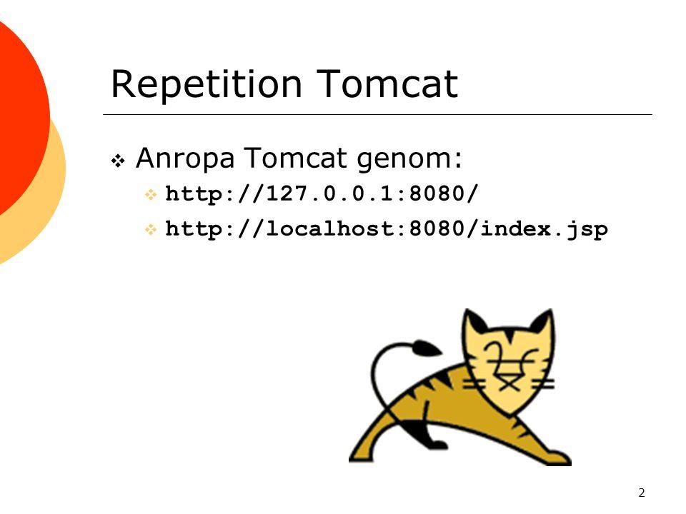 2 Repetition Tomcat  Anropa Tomcat genom:  http://127.0.0.1:8080/  http://localhost:8080/index.jsp