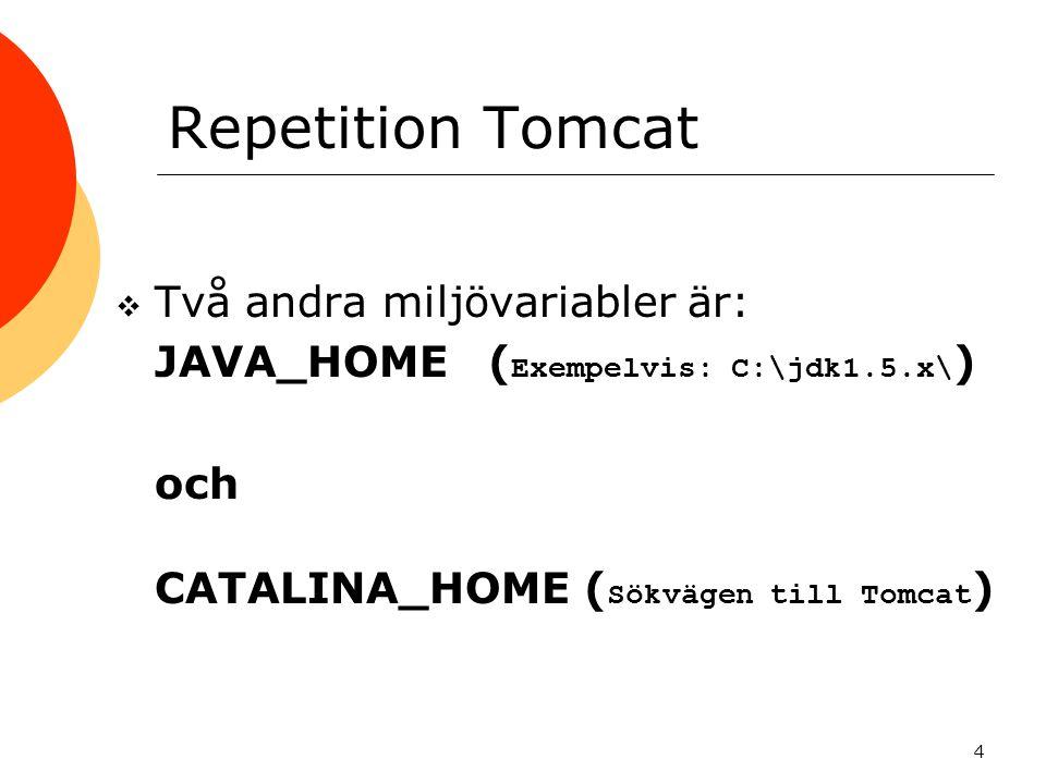 4 Repetition Tomcat  Två andra miljövariabler är:  JAVA_HOME ( Exempelvis: C:\jdk1.5.x\ )  och  CATALINA_HOME ( Sökvägen till Tomcat )