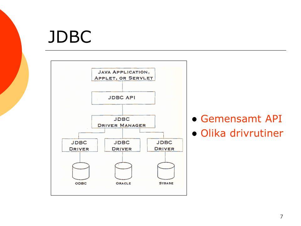 7 JDBC Gemensamt API Olika drivrutiner