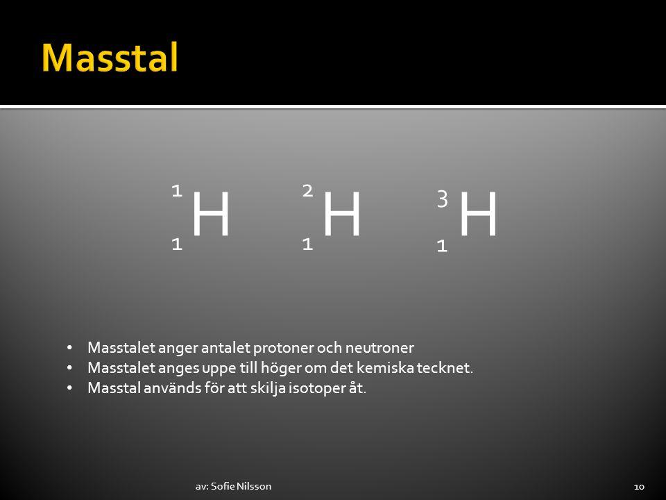 av: Sofie Nilsson10 H 1 1 H 1 2 H 1 3 Masstalet anger antalet protoner och neutroner Masstalet anges uppe till höger om det kemiska tecknet. Masstal a