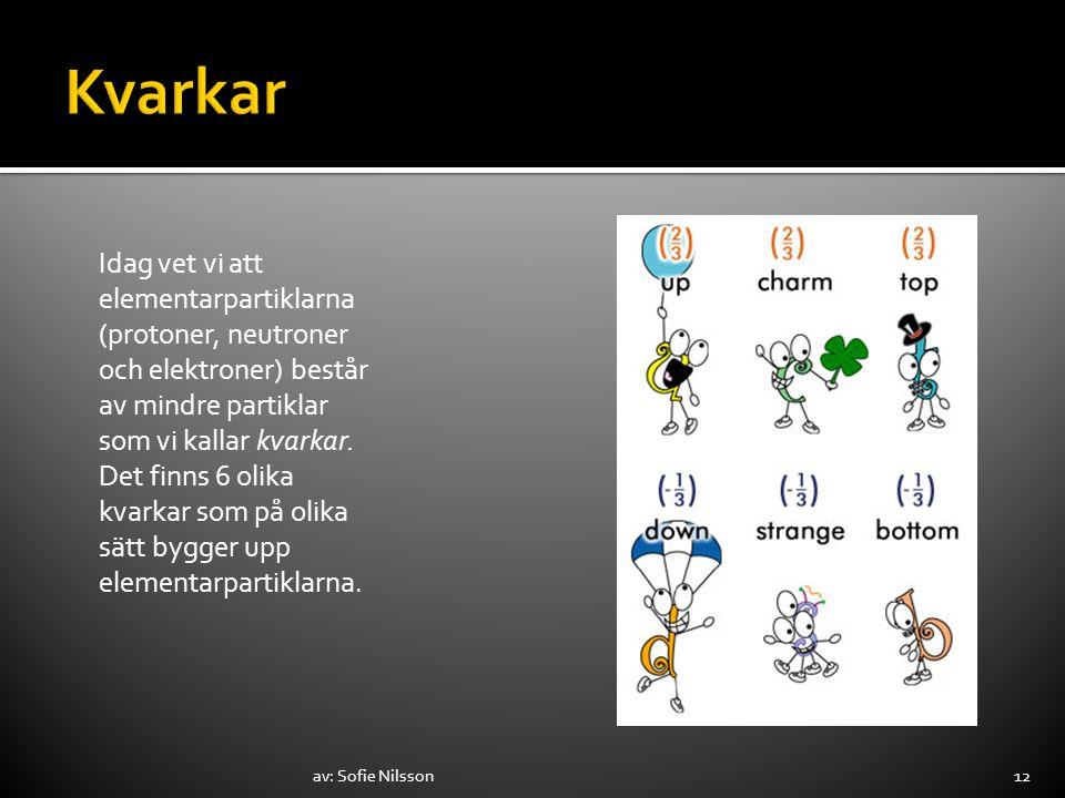 av: Sofie Nilsson12 Idag vet vi att elementarpartiklarna (protoner, neutroner och elektroner) består av mindre partiklar som vi kallar kvarkar. Det fi
