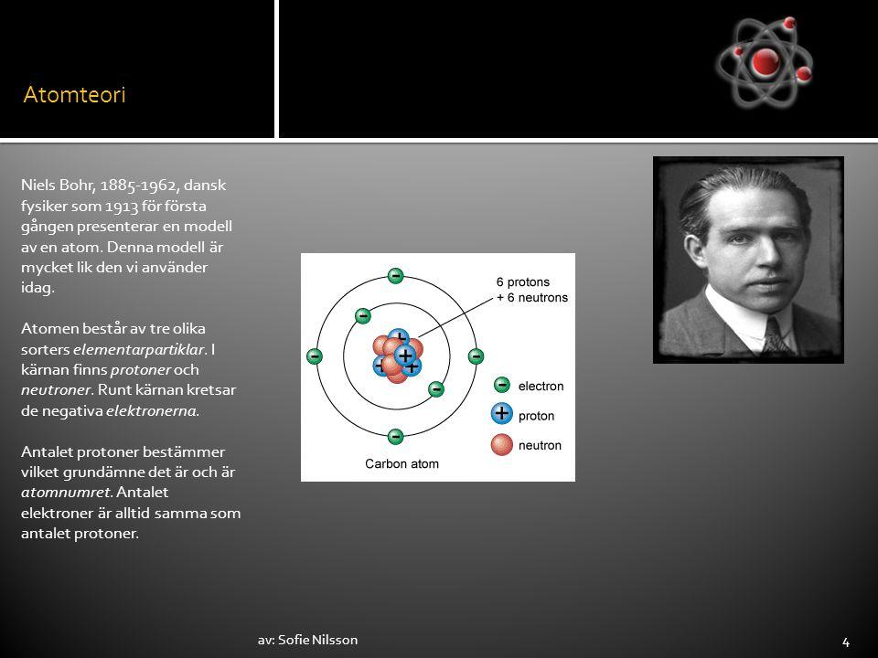 Atomteori Niels Bohr, 1885-1962, dansk fysiker som 1913 för första gången presenterar en modell av en atom. Denna modell är mycket lik den vi använder