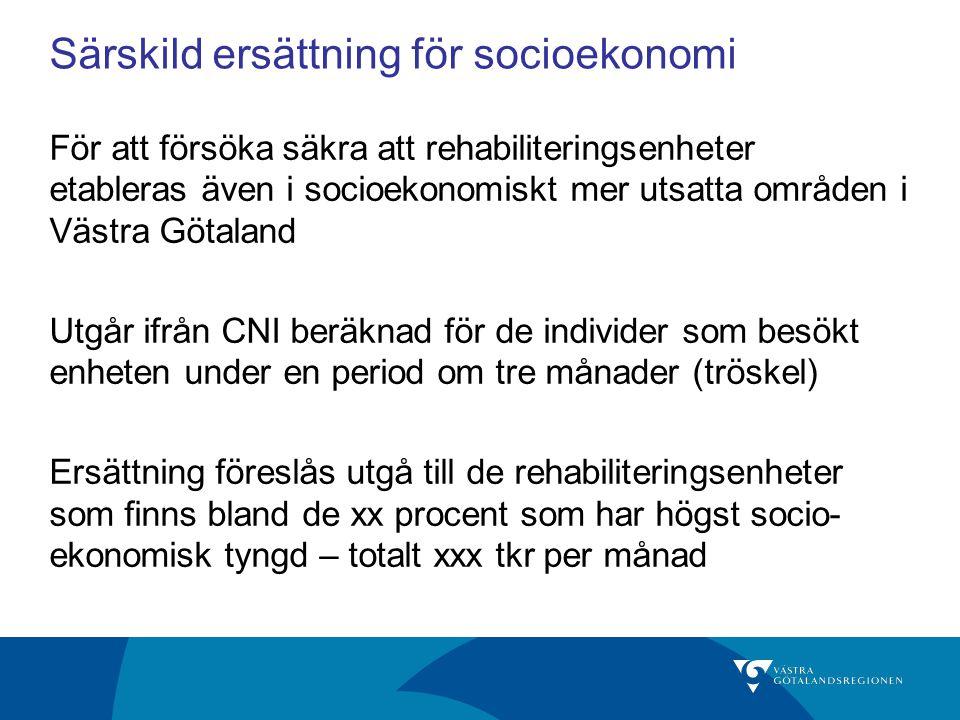 Särskild ersättning för socioekonomi För att försöka säkra att rehabiliteringsenheter etableras även i socioekonomiskt mer utsatta områden i Västra Gö