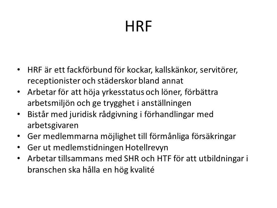 HRF HRF är ett fackförbund för kockar, kallskänkor, servitörer, receptionister och städerskor bland annat Arbetar för att höja yrkesstatus och löner,