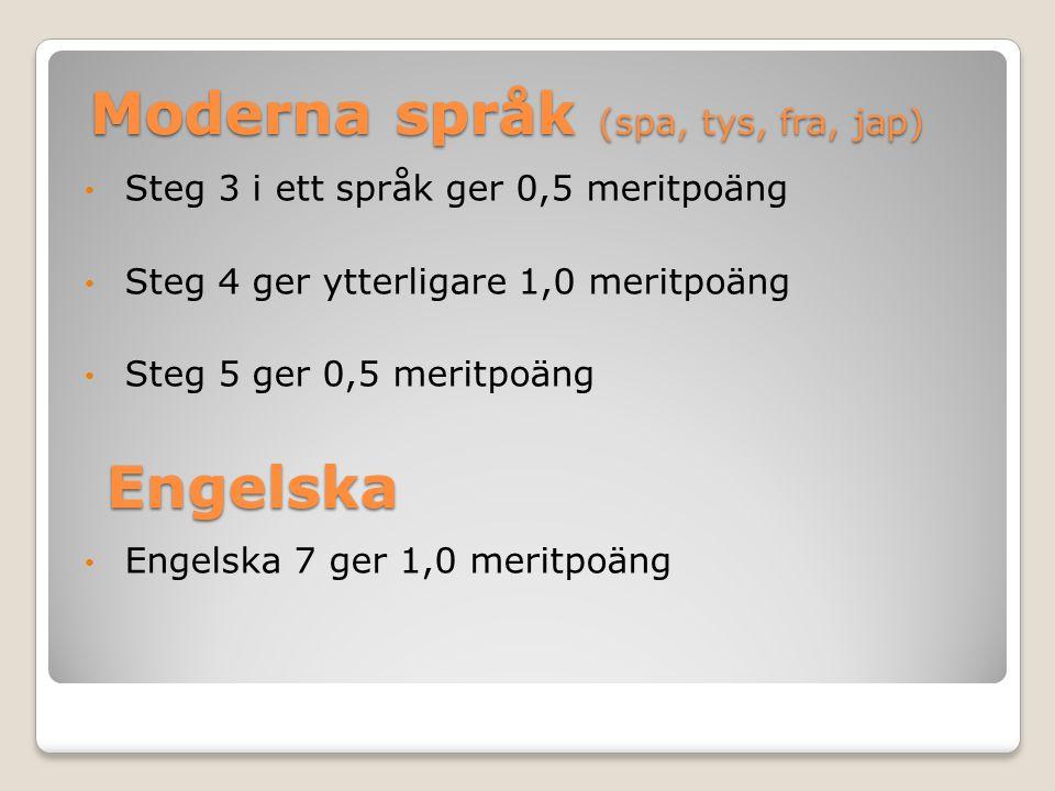 Moderna språk (spa, tys, fra, jap) Steg 3 i ett språk ger 0,5 meritpoäng Steg 4 ger ytterligare 1,0 meritpoäng Steg 5 ger 0,5 meritpoäng Engelska 7 ge