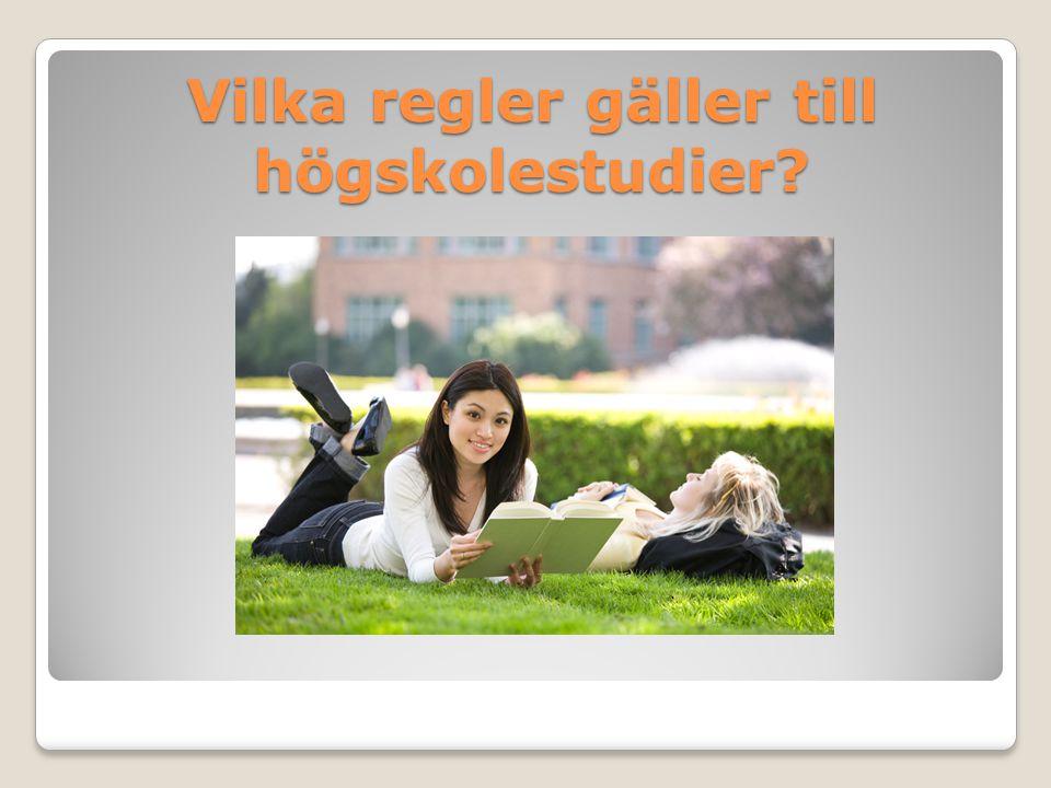 Grundläggande behörighet Examen från ett högskoleförberedande program Svenska 1,2,3 Engelska 5,6 Matematik 1b eller 1c Godkänt i gymnasiearbetet 2 500 gymnasiepoäng där minst 2 250 gymnasiepoäng ska ha lägst betyget godkänt (E).