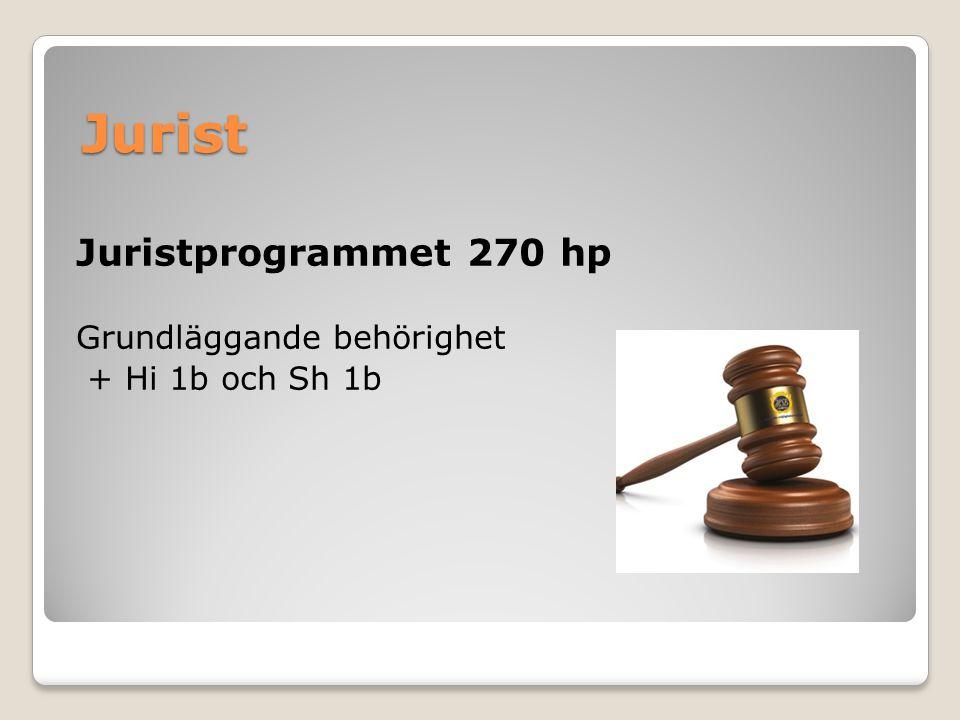 Jurist Juristprogrammet 270 hp Grundläggande behörighet + Hi 1b och Sh 1b