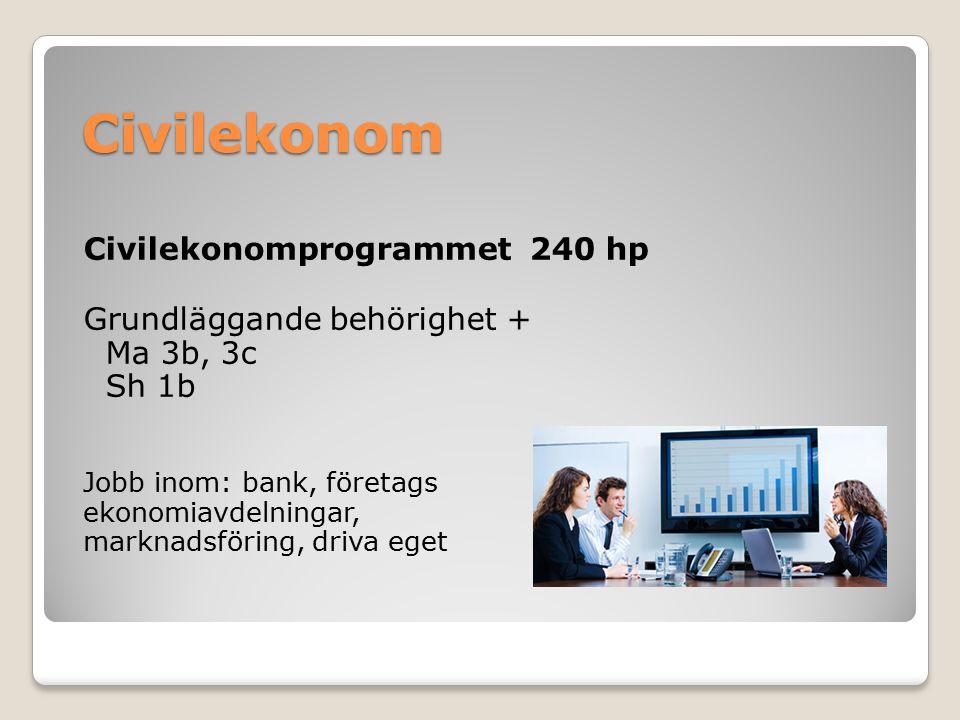 Civilekonom Civilekonomprogrammet 240 hp Grundläggande behörighet + Ma 3b, 3c Sh 1b Jobb inom: bank, företags ekonomiavdelningar, marknadsföring, driv