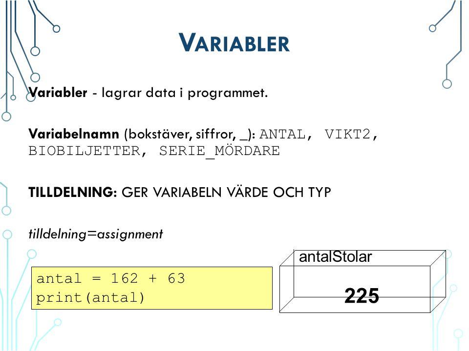 V ARIABLER Variabler - lagrar data i programmet.