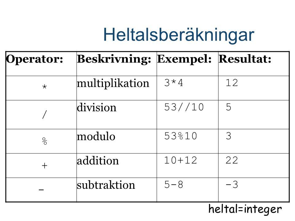 Heltalsberäkningar Operator:Beskrivning:Exempel:Resultat: * multiplikation 3*4 12 / division 53//10 5 % modulo 53%10 3 + addition 10+12 22 - subtraktion 5-8 -3 heltal=integer