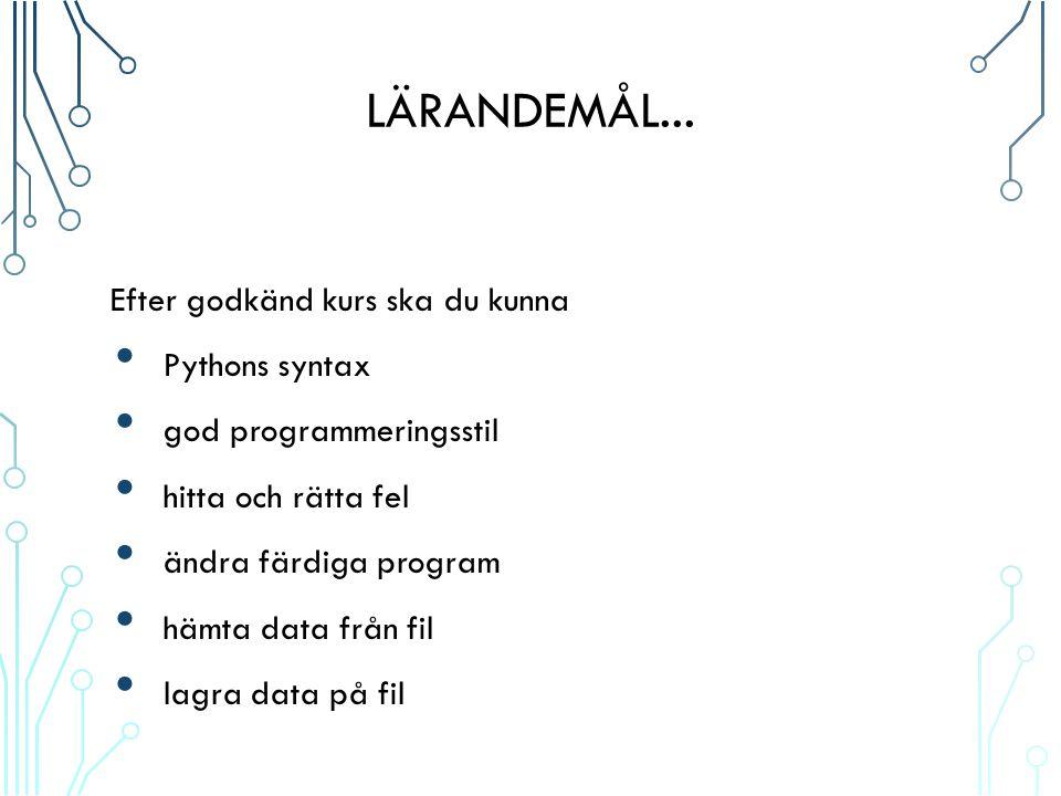 LÄRANDEMÅL...