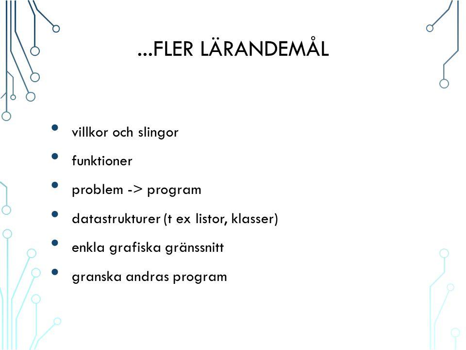 ...FLER LÄRANDEMÅL villkor och slingor funktioner problem -> program datastrukturer (t ex listor, klasser) enkla grafiska gränssnitt granska andras program