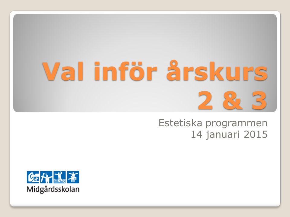Val inför årskurs 2 & 3 Estetiska programmen 14 januari 2015