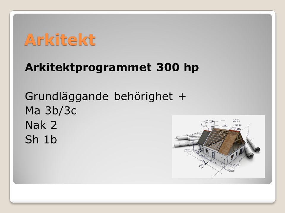 Arkitekt Arkitektprogrammet 300 hp Grundläggande behörighet + Ma 3b/3c Nak 2 Sh 1b
