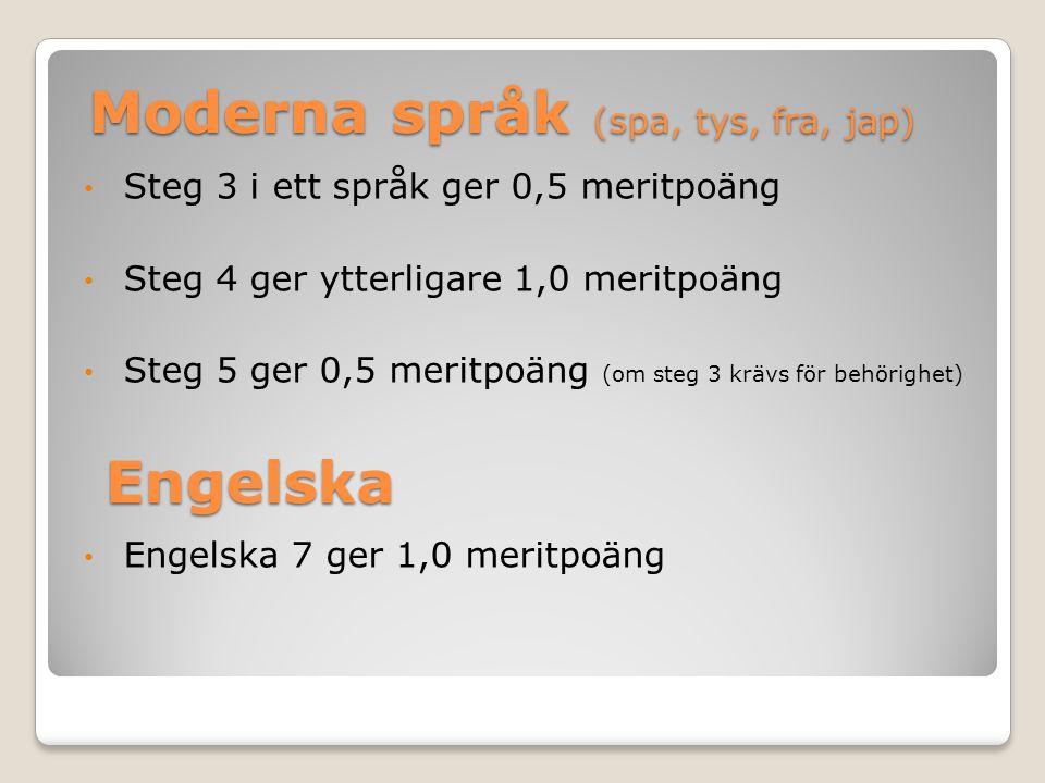 Moderna språk (spa, tys, fra, jap) Steg 3 i ett språk ger 0,5 meritpoäng Steg 4 ger ytterligare 1,0 meritpoäng Steg 5 ger 0,5 meritpoäng (om steg 3 krävs för behörighet) Engelska 7 ger 1,0 meritpoäng Engelska