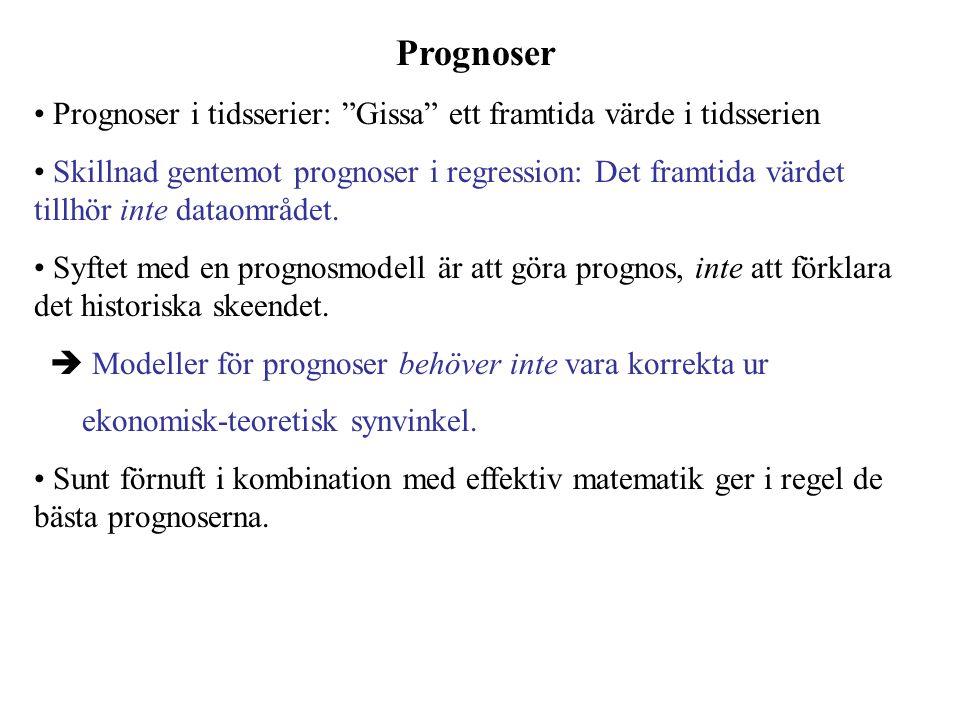 Prognoser Prognoser i tidsserier: Gissa ett framtida värde i tidsserien Skillnad gentemot prognoser i regression: Det framtida värdet tillhör inte dataområdet.