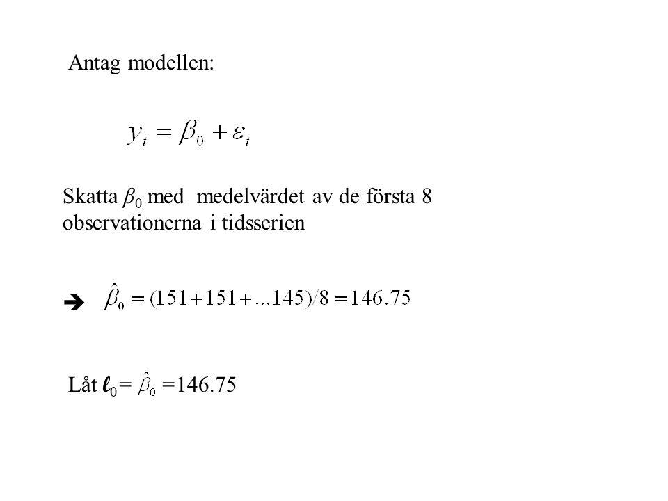 Antag modellen: Skatta β 0 med medelvärdet av de första 8 observationerna i tidsserien  Låt l 0 = =146.75