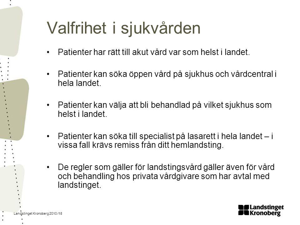Landstinget Kronoberg 2010 /18 Valfrihet i sjukvården Patienter har rätt till akut vård var som helst i landet. Patienter kan söka öppen vård på sjukh