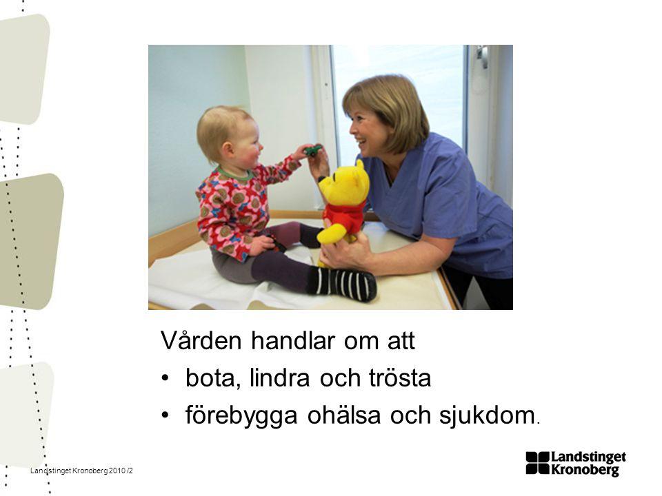 Landstinget Kronoberg 2010 /2 Vården handlar om att bota, lindra och trösta förebygga ohälsa och sjukdom.