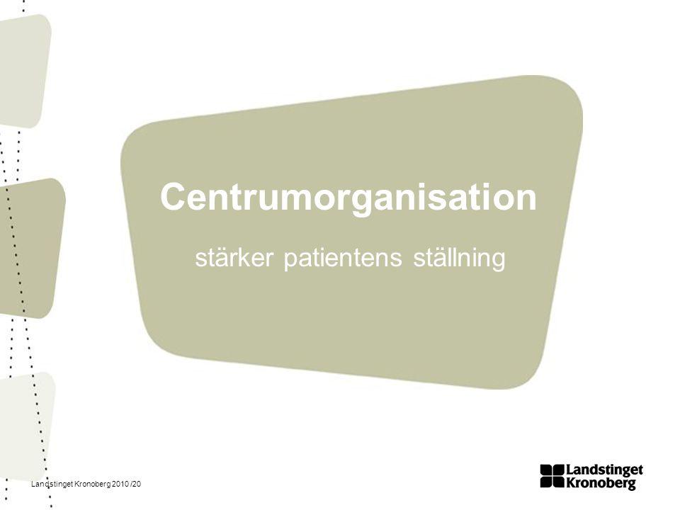Landstinget Kronoberg 2010 /20 Centrumorganisation stärker patientens ställning