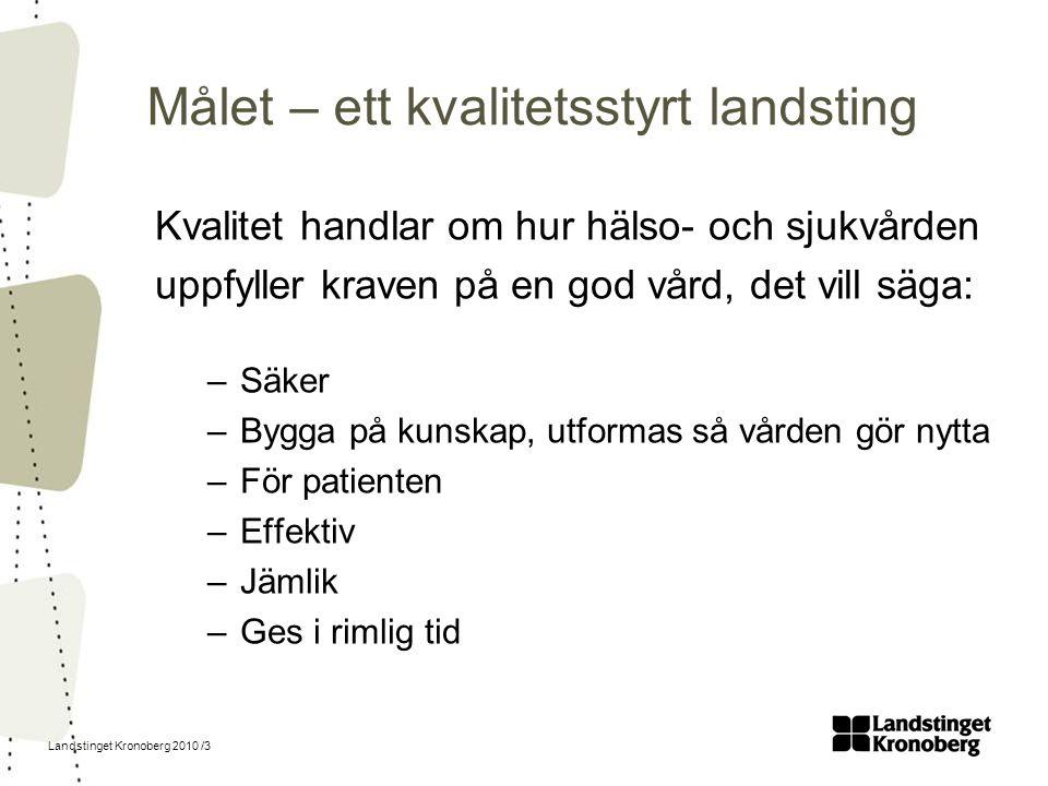 Landstinget Kronoberg 2010 /3 Målet – ett kvalitetsstyrt landsting Kvalitet handlar om hur hälso- och sjukvården uppfyller kraven på en god vård, det