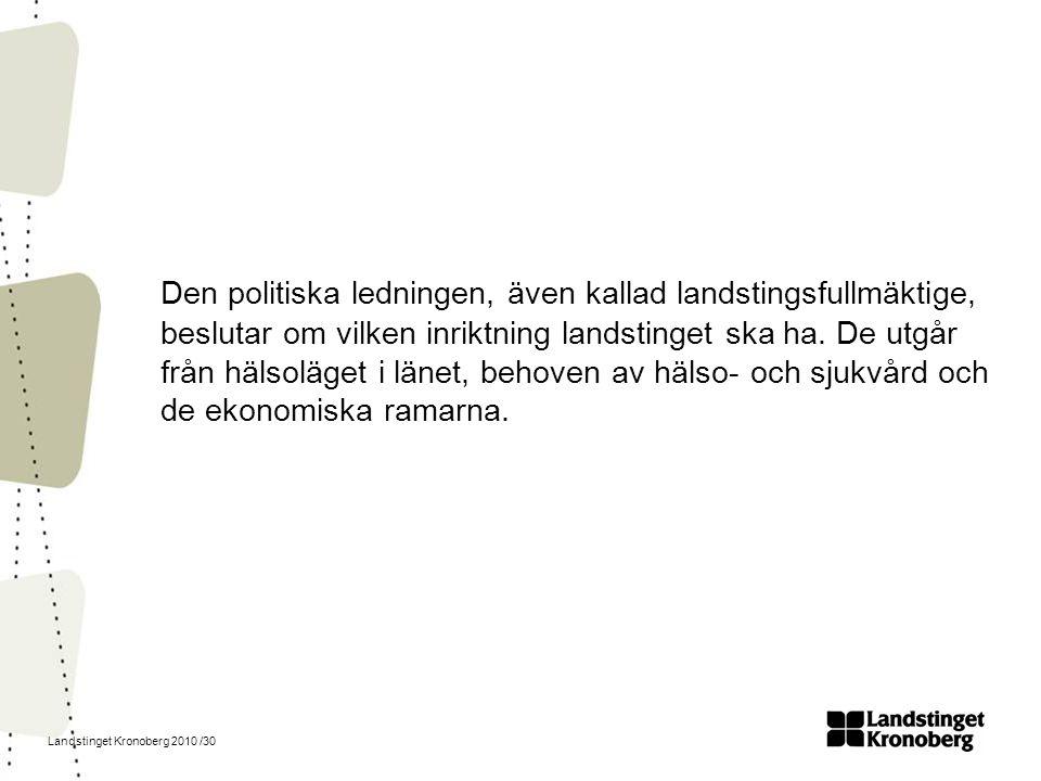 Landstinget Kronoberg 2010 /30 Den politiska ledningen, även kallad landstingsfullmäktige, beslutar om vilken inriktning landstinget ska ha. De utgår