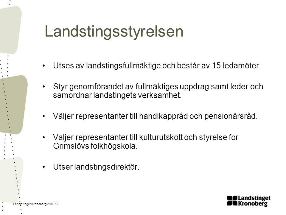 Landstinget Kronoberg 2010 /33 Landstingsstyrelsen Utses av landstingsfullmäktige och består av 15 ledamöter. Styr genomförandet av fullmäktiges uppdr