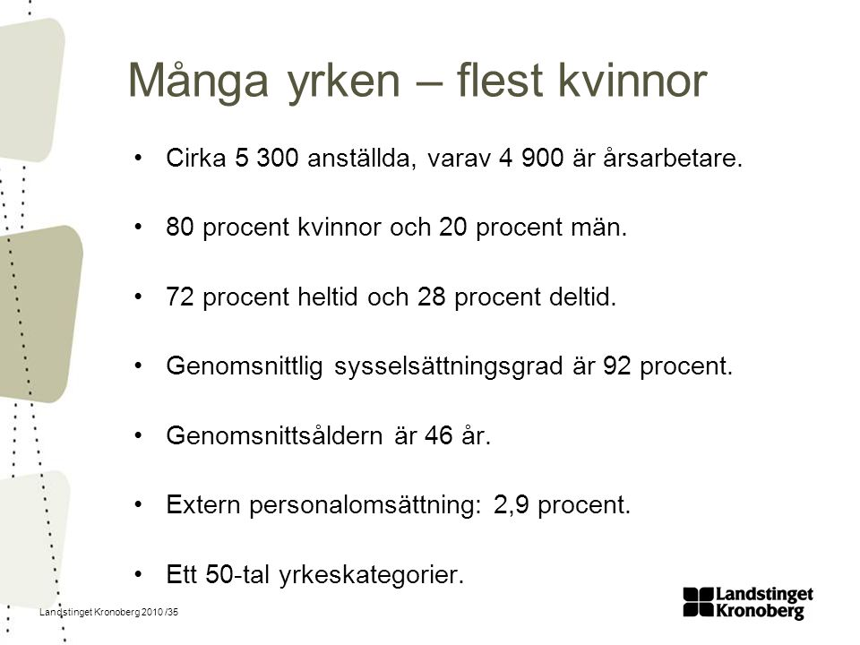 Landstinget Kronoberg 2010 /35 Många yrken – flest kvinnor Cirka 5 300 anställda, varav 4 900 är årsarbetare. 80 procent kvinnor och 20 procent män. 7